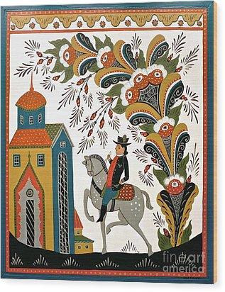 Man On Horse Wood Print by Leif Sodergren