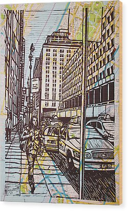 Manhattan On Map Wood Print by William Cauthern