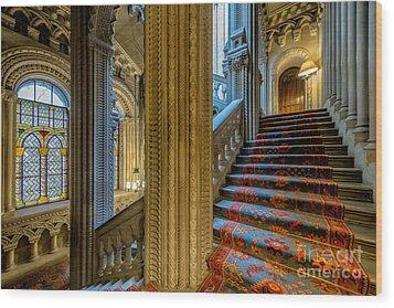 Mansion Stairway Wood Print by Adrian Evans