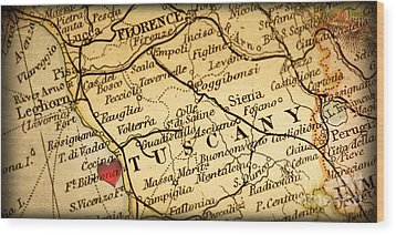 Map Of Florence Tuscany Italy Europe In A Antique Distressed Vin Wood Print by ELITE IMAGE photography By Chad McDermott