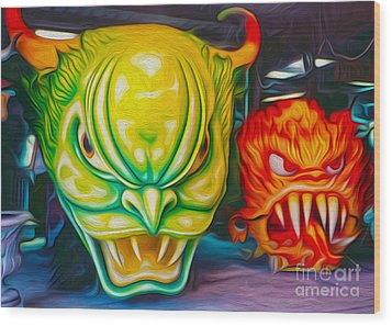 Mardi Gras Devils Wood Print by Gregory Dyer