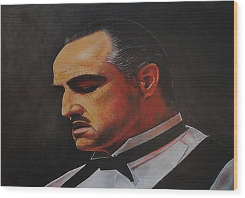 Wood Print featuring the painting Marlon Brando The Godfather by David Dunne