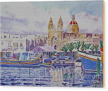Marsaxlokk Malta Wood Print by Godwin Cassar