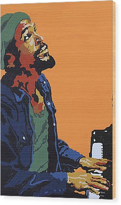 Wood Print featuring the painting Marvin Gaye by Rachel Natalie Rawlins