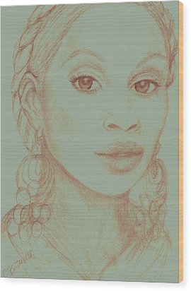 Wood Print featuring the drawing Mary J Blige by Christy Saunders Church