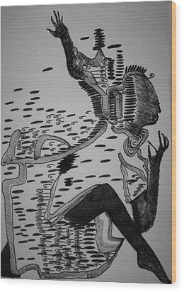 Wood Print featuring the drawing Mbakumba Dance - Zimbabwe by Gloria Ssali