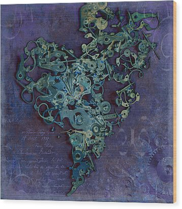 Mechanical - Heart Wood Print by Fran Riley