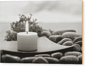 Meditation Candle Wood Print by Olivier Le Queinec