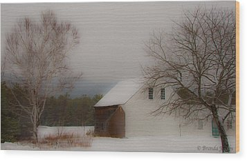 Wood Print featuring the photograph Melvin Village Barn In Winter by Brenda Jacobs