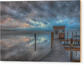 Melvin Village Marina In The Fog Wood Print