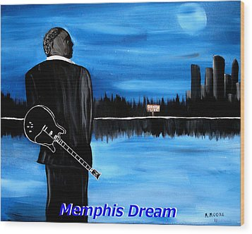 Memphis Dream With B B King Wood Print by Mark Moore