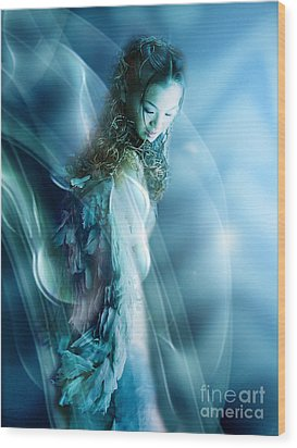 Mermaid Wood Print by VIAINA Visual Artist