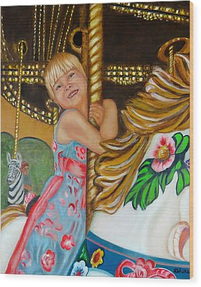 Wood Print featuring the painting Merry-go-round by Sharon Schultz