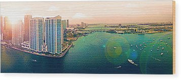 1 Miami Wood Print by Michael Guirguis