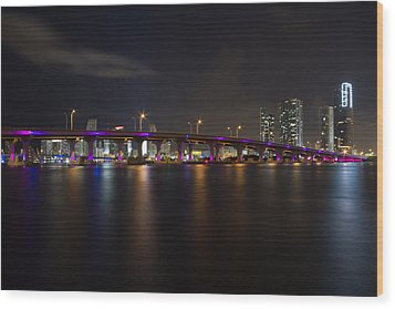 Miami Night Skyline Wood Print by Andres Leon
