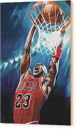 Michael Jordan Artwork Wood Print by Sheraz A