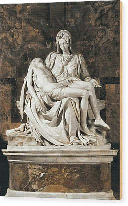 Michelangelo 1475-1564. Pieta Wood Print by Everett