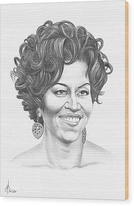 Michelle Obama Wood Print by Murphy Elliott