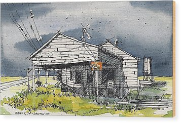 Wood Print featuring the mixed media Midway Texas Fillin' Station by Tim Oliver