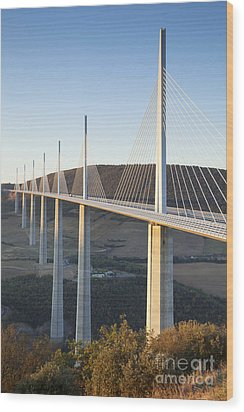 Millau Viaduct At Sunrise Midi-pyrenees France Wood Print by Colin and Linda McKie