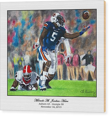 Miracle At Jordan-hare Wood Print by Lance Curry