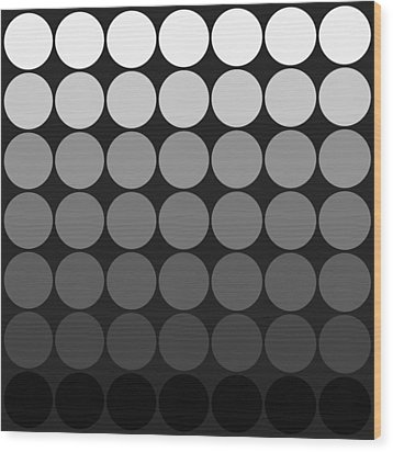 Mod Pop Gradient Circles Black And White Wood Print