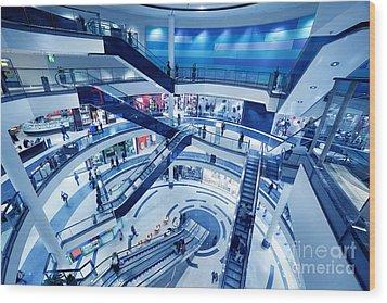 Modern Shopping Mall Interior Wood Print by Michal Bednarek