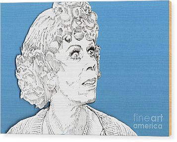 Wood Print featuring the mixed media Momma On Blue by Jason Tricktop Matthews