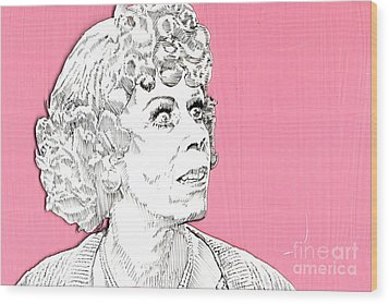 Momma On Pink Wood Print by Jason Tricktop Matthews