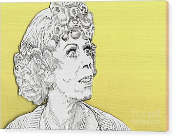 Wood Print featuring the mixed media Momma On Yellow by Jason Tricktop Matthews
