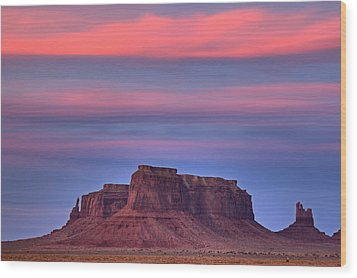 Monument Valley Sunset Wood Print by Alan Vance Ley