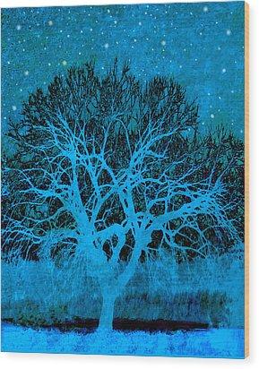 Mood Indigo Wood Print by Ann Powell