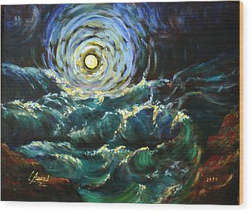 Wood Print featuring the painting Moon And Waves by Laila Awad Jamaleldin