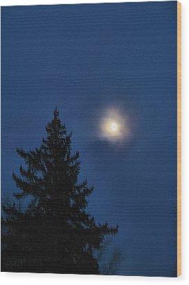 Moon Beyond The Spruce Wood Print