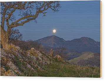 Moon Over Mt Diablo Wood Print