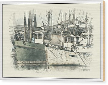 Wood Print featuring the digital art Moored Fishing Boats by Richard Farrington