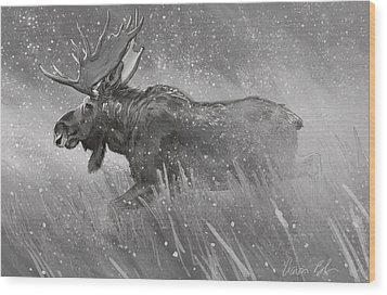 Wood Print featuring the digital art Moose Sketch by Aaron Blaise