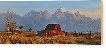 Mormon Row And The Grand Tetons  Wood Print by Ken Smith