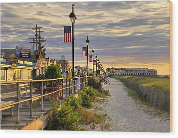 Morning On The Boardwalk Wood Print