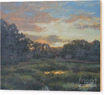 Morning On The Marsh - Wellfleet Wood Print by Gregory Arnett