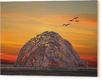 Morro Rock 3007 Wood Print by Barbara Snyder