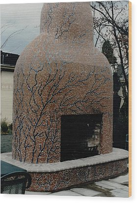 Mosaic Fireplace Wood Print by Charles Lucas