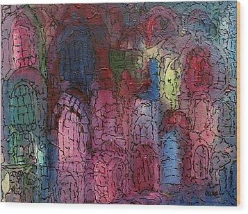 Mosaic Town Wood Print