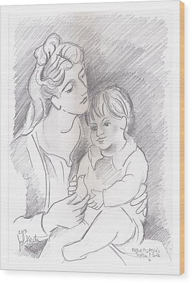 Mother And Child Wood Print by John Keaton