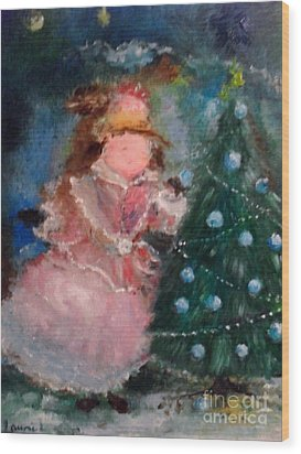 Wood Print featuring the painting Mother Christmas by Laurie L