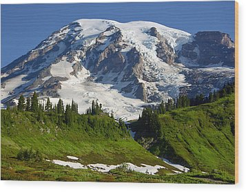 Wood Print featuring the photograph Mount Rainier From Paradise by Bob Noble Photography