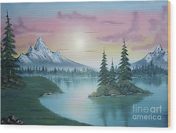 Mountain Lake Painting A La Bob Ross 1 Wood Print