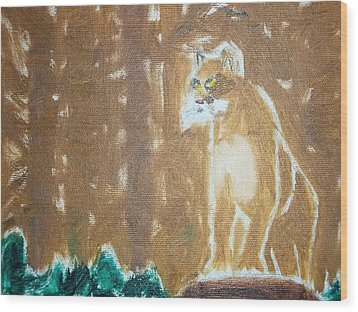 Mountain Lion Oil Painting Wood Print by William Sahir House