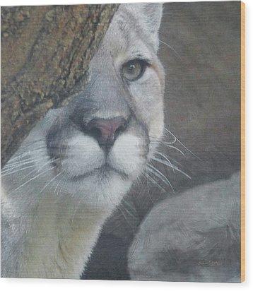 Mountain Lion Painterly Wood Print by Ernie Echols