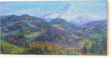 Mountain Patchwork Wood Print by Quin Sweetman